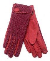 Handschoenen voor Dames rood met knoop