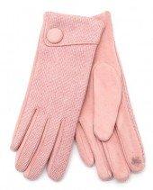 Handschoenen voor Dames roze met knoop